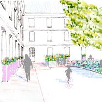 Avant-projet - Dessin d'ambiance de la future terrasse ensoleillée
