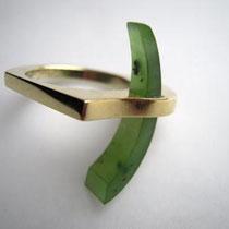 Ring in kantiger hoher Außenform in 585/- Gold