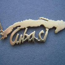 Insel Cuba mit Schriftzug in 14 ct Gold.