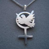 Silberanhänger kleine Taube auf Frauensymbol, mit Silberkette