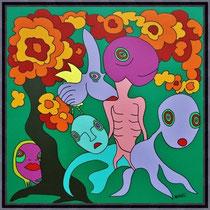 Acrylbild von Swa van Dael  - UNIKAT - Look at me - -80 x 80 cm