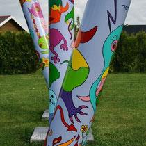 Gartenskulptur von Swa van Dael  3 Elemente H250/200/150 cm 6500 €