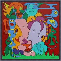 Acrylbild von Swa van Dael  - UNIKAT - The Kiss 80 x 80 cm 1150 €