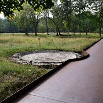 Plaats van de fontein binnen het bewakerskamp tijdens de Tweede Wereldoorlog
