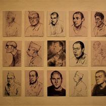 37. Tekeningen van gevangenen en bewakers - oa gemaakt door voormalig Breendonk gevangene Jacques Ochs
