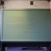 Quote van K. de Fries. Onderdeel van de tentoonstelling