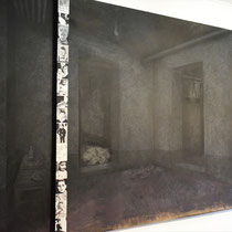 Kunstwerk van de kelder waar de moorden plaatsvonden - waar de galg hangt zijn alleen de moorden niet gepleegd
