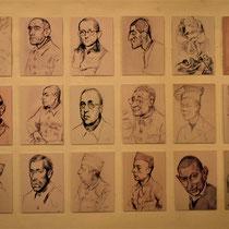 36. Tekeningen van gevangenen en bewakers - oa gemaakt door voormalig Breendonk gevangene Jacques Ochs