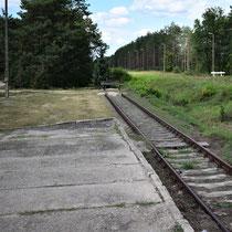 Voormalige rampe Sobibor - waar de mensen de trein uitstapten - niet meer origineel