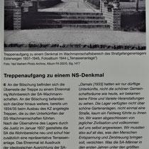 Informatiebord over de trap en Nationaal Socialistisch standbeeld