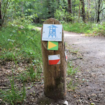 91) Wegwijspaaltje in bos naar de fusilladeplaats