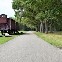 Treinwagon in het kamp - met zicht op ingang kamp