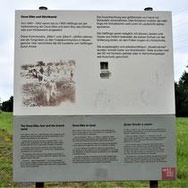 Informatiebord over aftakkanaal wat is afgegraven door gevangenen