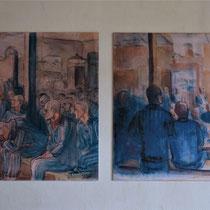 32) Tekeningen aan de muur van de eetzaal