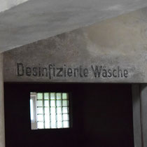 Tekst op muur registratie kantoor Birkenau - desinfizierte wasche