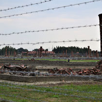 Restanten houten barakken Birkenau - diversen