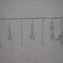 Kindertekening op muur van barak