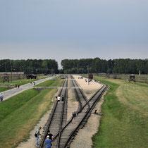 In de uitkijktoren van Birkenau - spoor met links stenen barakken en recht houten barakken