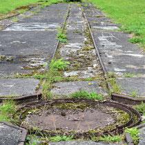 Rails waar de wagons op rijden met splitsing