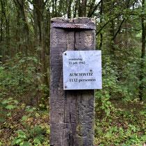 Paal met informatie over een transport vanuit Westerbork