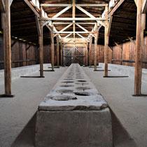 Houten barakken Birkenau - latrine voor gevangenen