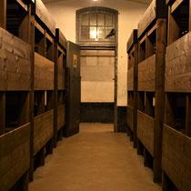 67. In een van de woonbarakken voor de gevangenen met zicht op de uitgang