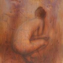 """Hockender Akt"" - Öl auf Leinwand 130 x 100 cm, 2014"