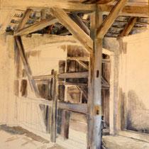 Gebälk, 1984, Öl auf Pappe, 50 x 40 cm