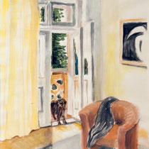 Balkonzimmer, 2016, Gouache auf Karton,  31x23 cm