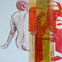 acrylique et feutres sur toile, 30 x 30 cm, 2014