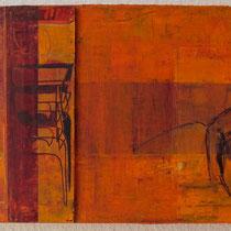 shir hashirim, acrylique mixte et feutres sur toile, 18 x 45 cm, 2011 | vendu