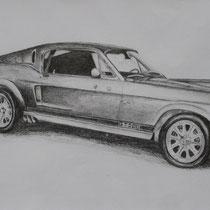 """""""Ford Mustang"""" Bleistiftzeichnung, 40 x 60cm, 2008"""