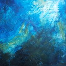 """""""Komposition liegend blau-ocker"""", Acryl und Ölpastelkreide auf Papier, 70 x 100cm, 2015"""