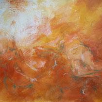 """""""Komposition liegend orange"""", Acryl und Ölpastelkreide auf Papier, 70 x 100cm, 2015"""