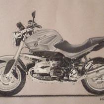 """""""Motorrad BMW R1200R"""" Auftragsarbeit, Pastellkreidezeichnung 30 x 40cm, 2008"""
