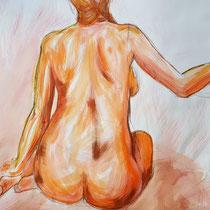 """""""Akt sitzend orange"""", Acryl und Ölpastelkreide auf Papier, 100 x 70cm, 2015"""