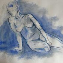 """""""Akt sitzend blau"""", Acryl und Ölpastellkreide auf Papier, 70 x 100cm, 2015"""