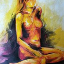 """""""Akt sitzend gelb"""", Acryl und Ölpastelkreide auf Papier, 100 x 70cm, 2015"""