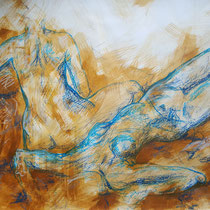 """""""Komposition liegend ocker-blau"""", Acryl und Ölpastelkreide auf Papier, 70 x 100cm, 2015"""