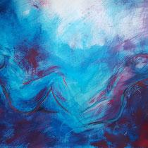 """""""Komposition sitzend blau vs. magenta"""", Acryl und Ölpastelkreide auf Papier, 70 x 100cm, 2015"""