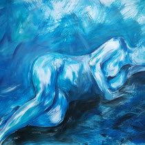 """""""Akt liegend blau"""", Acryl und Ölpastelkreide auf Papier, 70 x 100cm. 2015"""