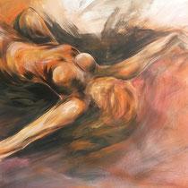 """""""Akt liegend orange"""", Acryl und Ölpastelkreide auf Papier, 70 x 100cm. 2015"""