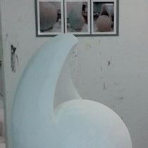 """""""Spannung"""" Gipsskulptur, ca. 75 x 35cm, 2012"""