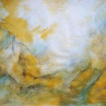 """""""Komposition sitzend gelb"""", Acryl und Ölpastelkreide auf Papier, 70 x 100cm, 2015"""