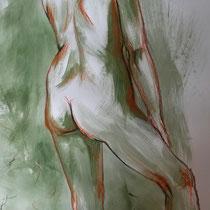 """""""Akt stehend grün"""", Acryl und Ölpastelkreide auf Papier, 100 x 70cm, 2015"""