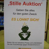 """Plakat was auf die """"Stille Auktion"""" hinweist"""