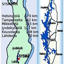 Lage und Entfernungen Sunny Mökki Sysmä.