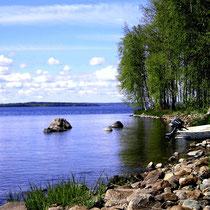 Für die Abkühlung zwischendurch oder nach der Sauna im Haus: Kleiner gemeinsamer Badeplatz der Anlieger und Bootsanlegestelle ca. 50 m vor dem Haus. Swimming area, place for the rowboat 50 m.