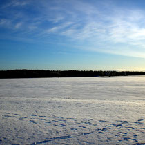 Das könnten Ihre Ski-Langlaufspuren auf dem gefrorenen Päijänne See sein.