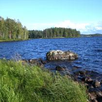Petri Heil: Hervorragender Platz zum angeln, 50 m direkt vor dem Haus. Angeln Sie direkt von Land oder von dem großen Stein - im Bild - aus. Blick von der Badestelle in die Bucht im herbstlichen Abendlicht.